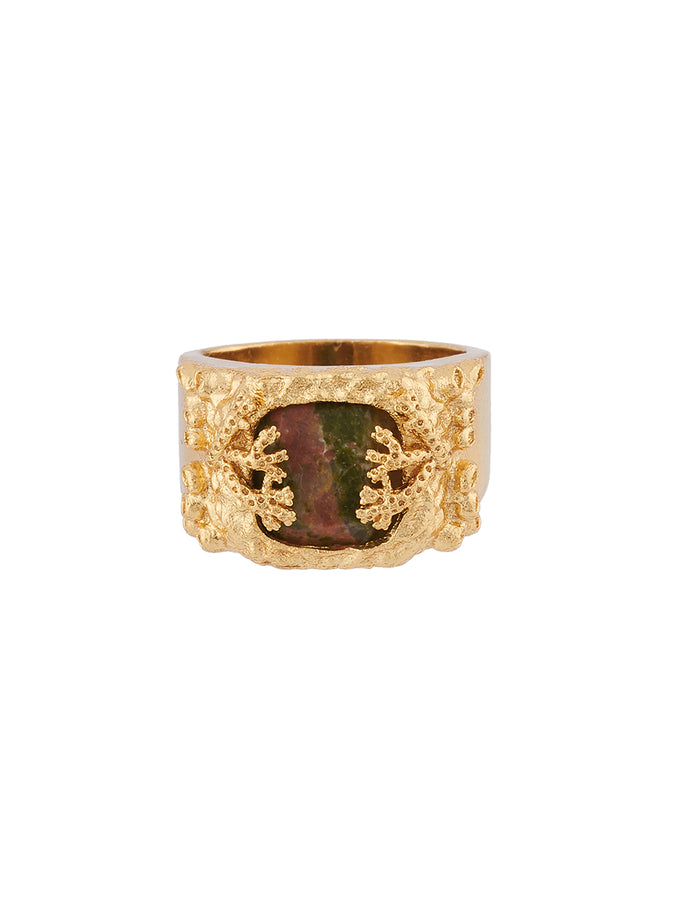 Underwater Memories Natural Stone and Corals Signet Ring - Red