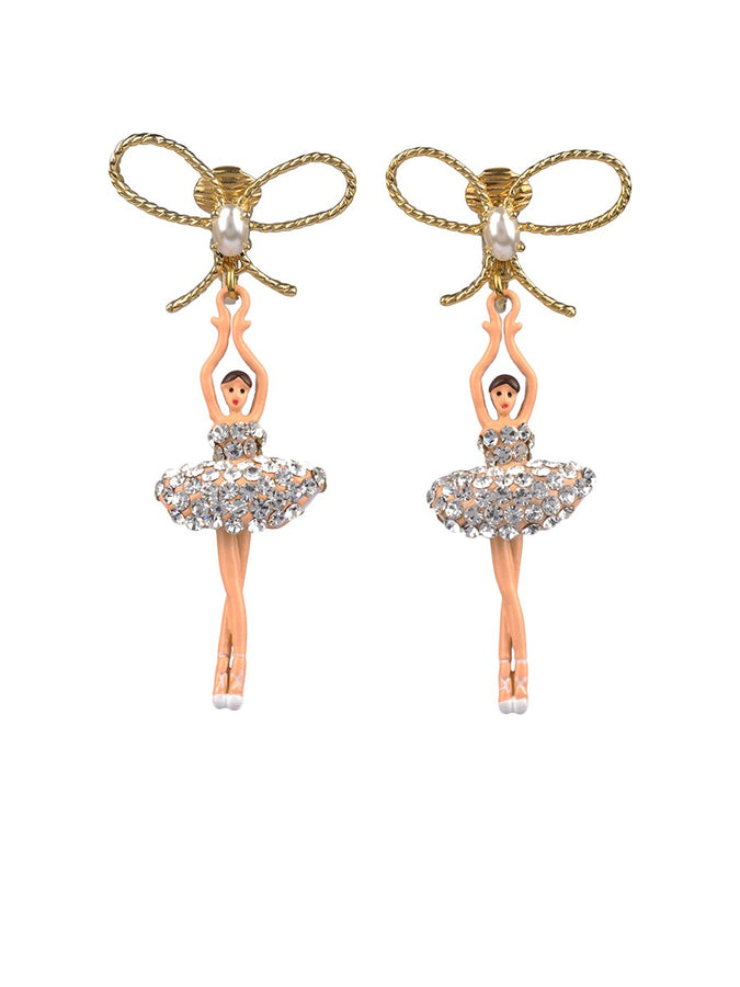 LUXURY PAS DE DEUX CRYSTAL RHINESTONE BALLERINA AND PEARL CLIP-ON EARRINGS