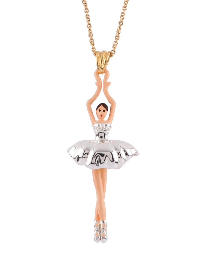 Pas de Deux Silvered Ballerina Short Necklace