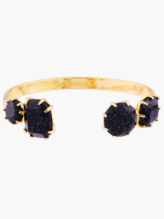 La Diamantine Deep Sparkling Blue 4 Stones Bangle Bracelet - Sparkling midnight blue
