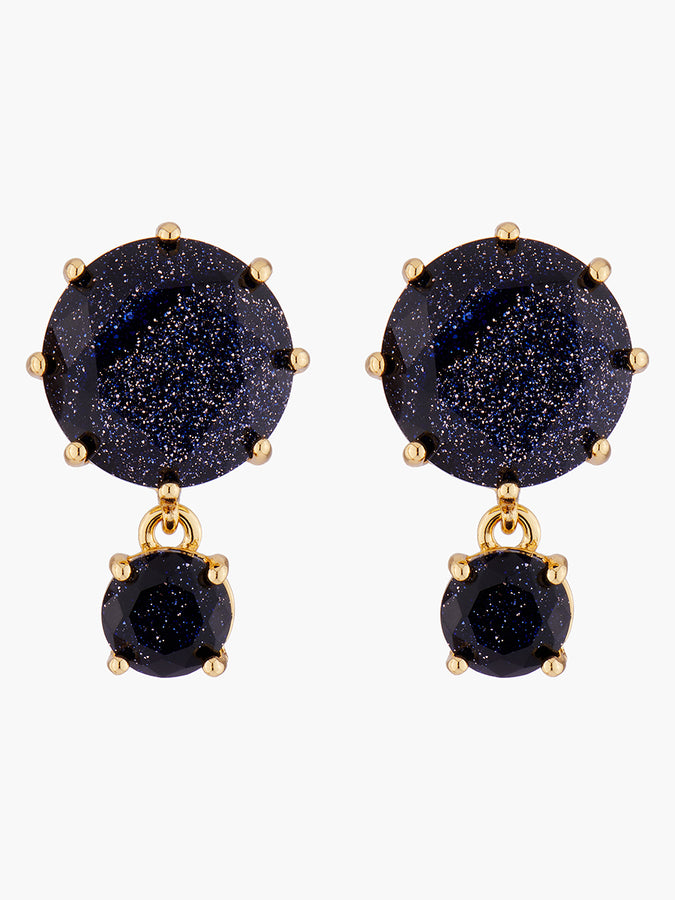 La Diamantine Deep Sparkling Blue 2 Round Stones Stud Earrings