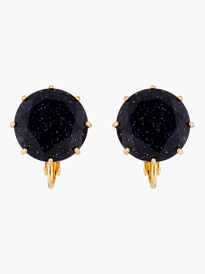 La Diamantine Deep Sparkling Blue Round Stone Clip-On Earrings