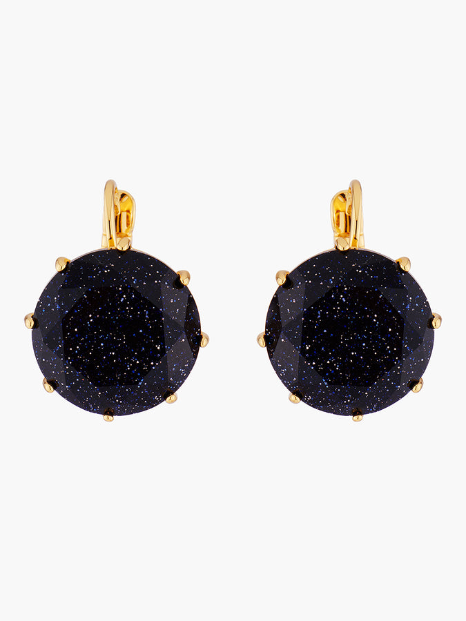 La Diamantine Deep Sparkling Blue Round Stone Dormeuses Earrings