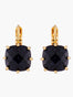La Diamantine Deep Sparkling Blue Square Stone Dormeuses Earrings