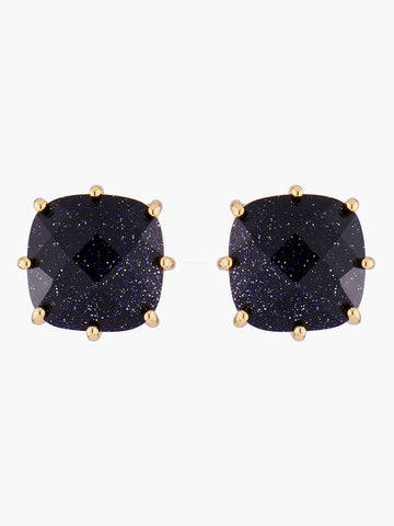 La Diamantine Deep Sparkling Blue Square Stone Stud Earrings