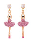 LUXURY PAS DE DEUX PINK RHINESTONE BALLERINA STUD EARRINGS