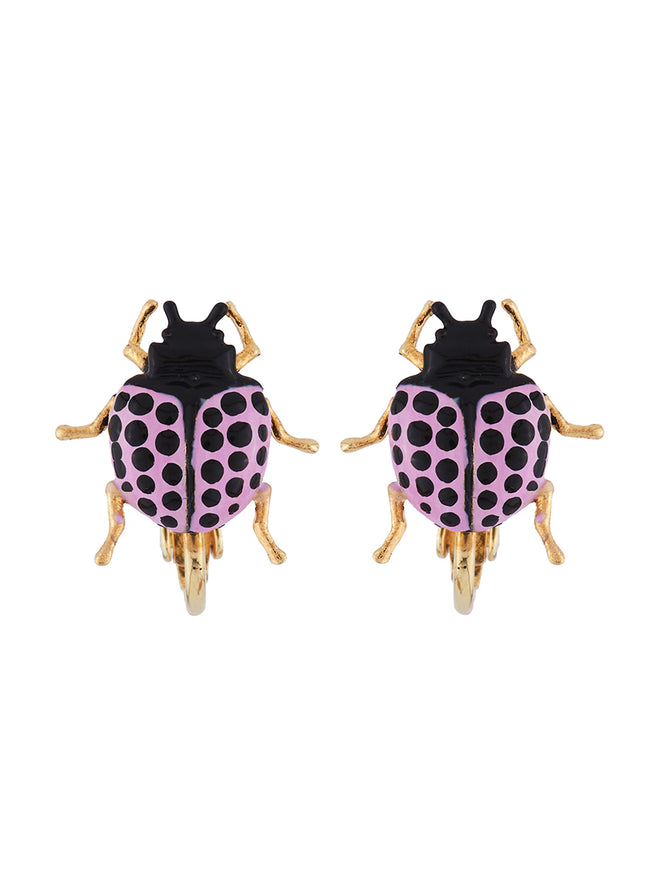 Ostentatious Obscurity Violet beetle with golden horns clip earrings