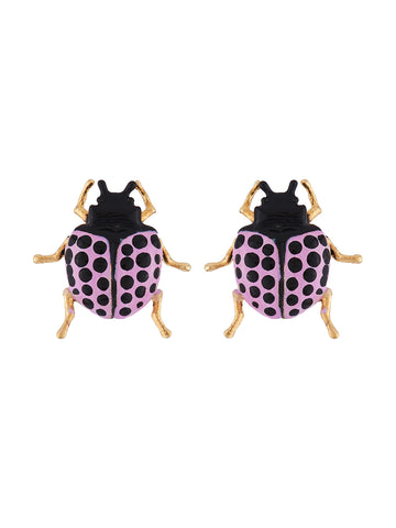 Ostentatious Obscurity Violet beetle with golden horns earrings