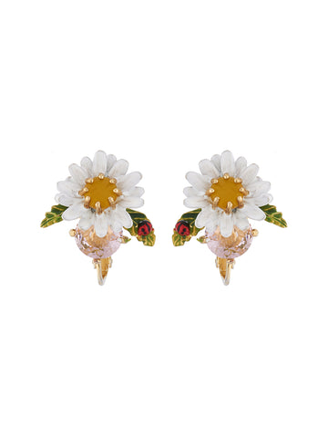 Lovely Daisies Daisy On Faceted Glass Clip Earrings