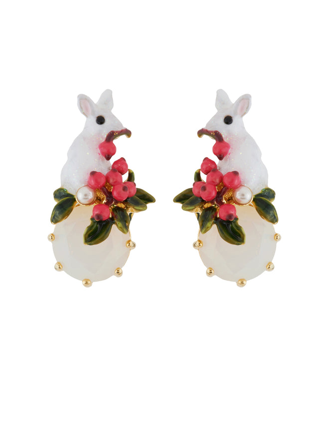 Snow Rose Glittered White Rabbit on Faceted Glass and Red Berries Clip Earrings