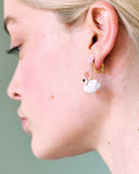 A Simple Swan White Swan and Pink Water Lily Clip-On Earrings