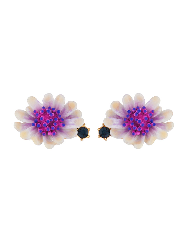 Flowers Symphony White Flower with Pink and Blue Pistil Earrings