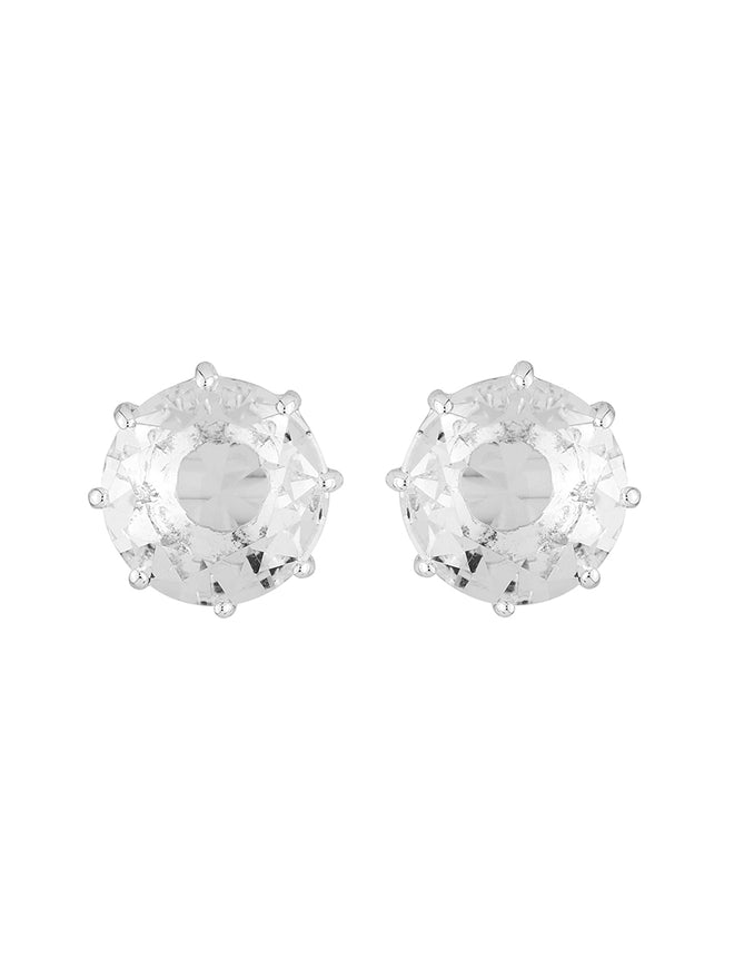 La Diamantine SMALL ROUND SILVER CRYSTAL STONE EARRINGS