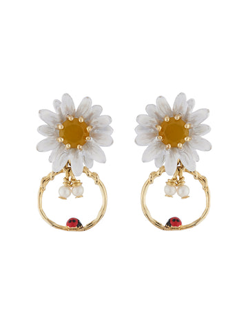 Lovely Daisies Daisy and Ladybird Little Hoop Earrings