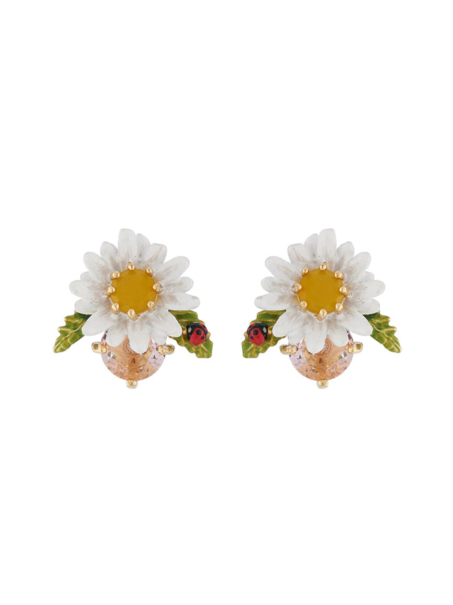 Lovely Daisies Daisy on Faceted Glass Earrings