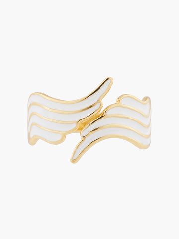 A Simple Swan White and Gold Swan Wings Adjustable Ring