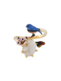 Bucolic Encounters Tit bird and stone adjustable ring