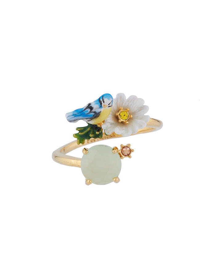 Dazzling Discretion Tit and daisy on faceted glass adjustable ring
