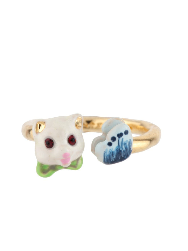 Little Cats White Cat and Butterfly Adjustable Ring