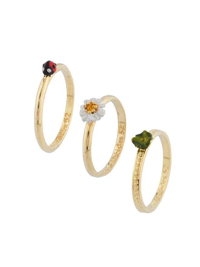 Lovely Daisies Set of 3 Ladybird, Clover and Daisy Rings - White Alternate View