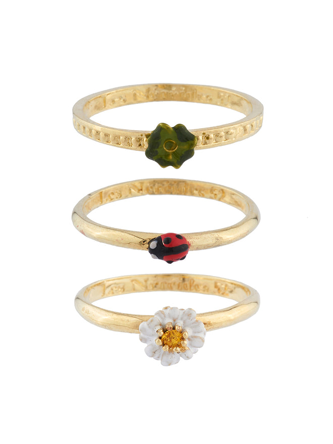 Lovely Daisies Set of 3 Ladybird, Clover and Daisy Rings - White
