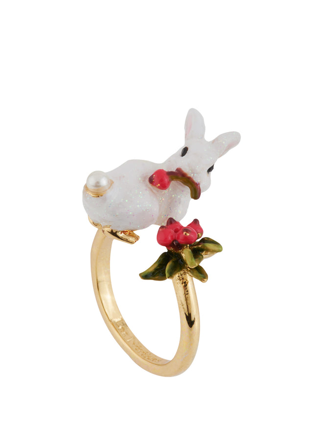 Snow Rose Glittered White Rabbit and Red Berries Adjustable Ring Alternate View