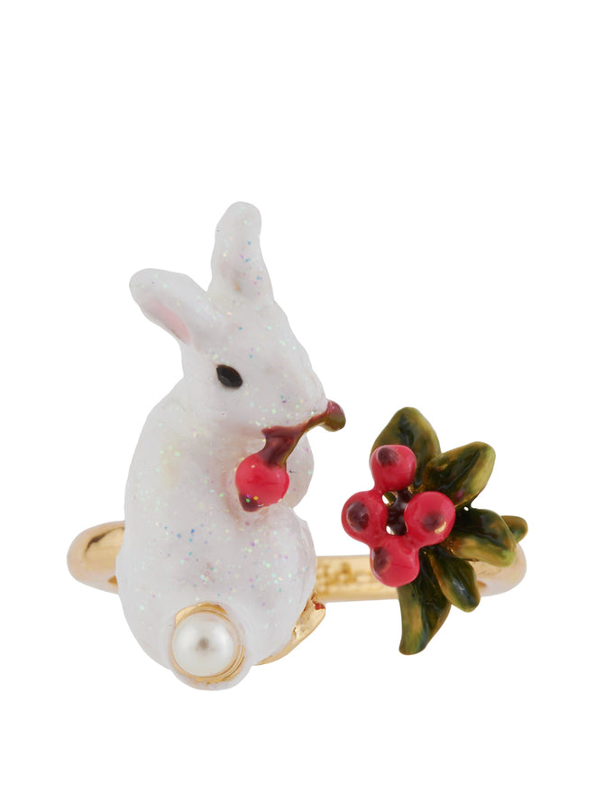 Snow Rose Glittered White Rabbit and Red Berries Adjustable Ring