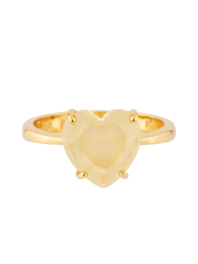 La Diamantine Citrine Yellow Heart-Shaped Stone Ring - Yellow