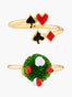 Alice's Dream Red Roses and Aces Set of 2 Adjustable Ring