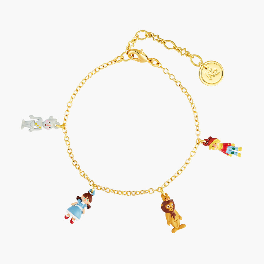 The Wizard Of Oz The Tinman, Dorothy, The Cowardly Lion and The Scarecrow Charm Bracelet
