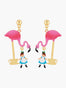 Alice's Dream Alice and Pink Flamingo Tea Time Stud Earrings