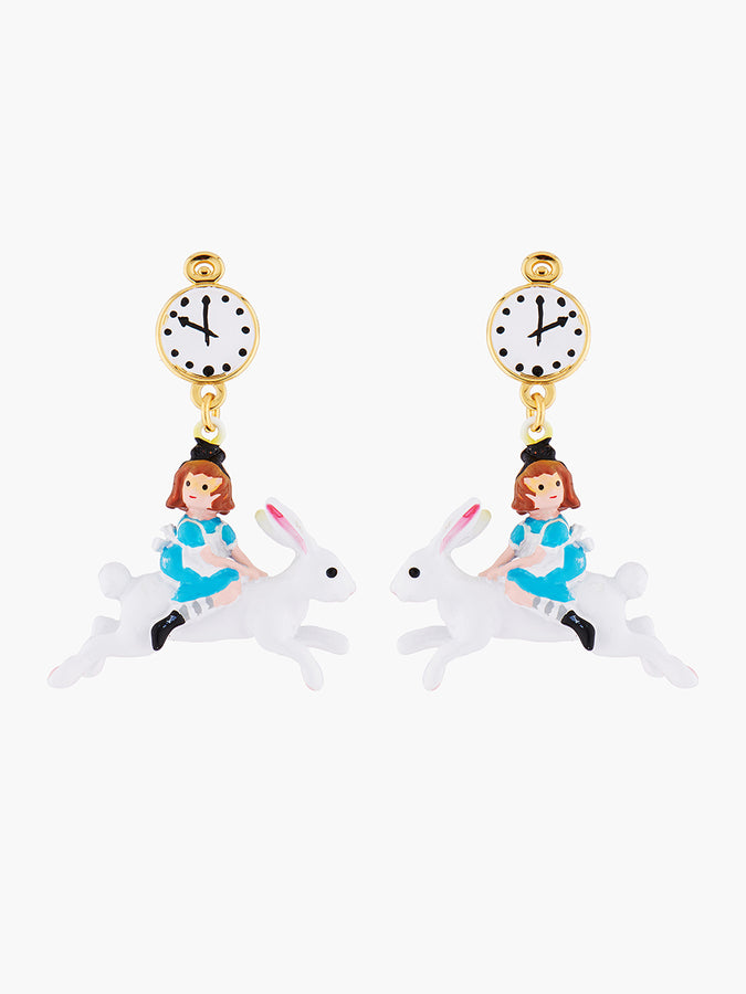 Alice's Dream Alice on the White Rabbit Clip-on Earrings