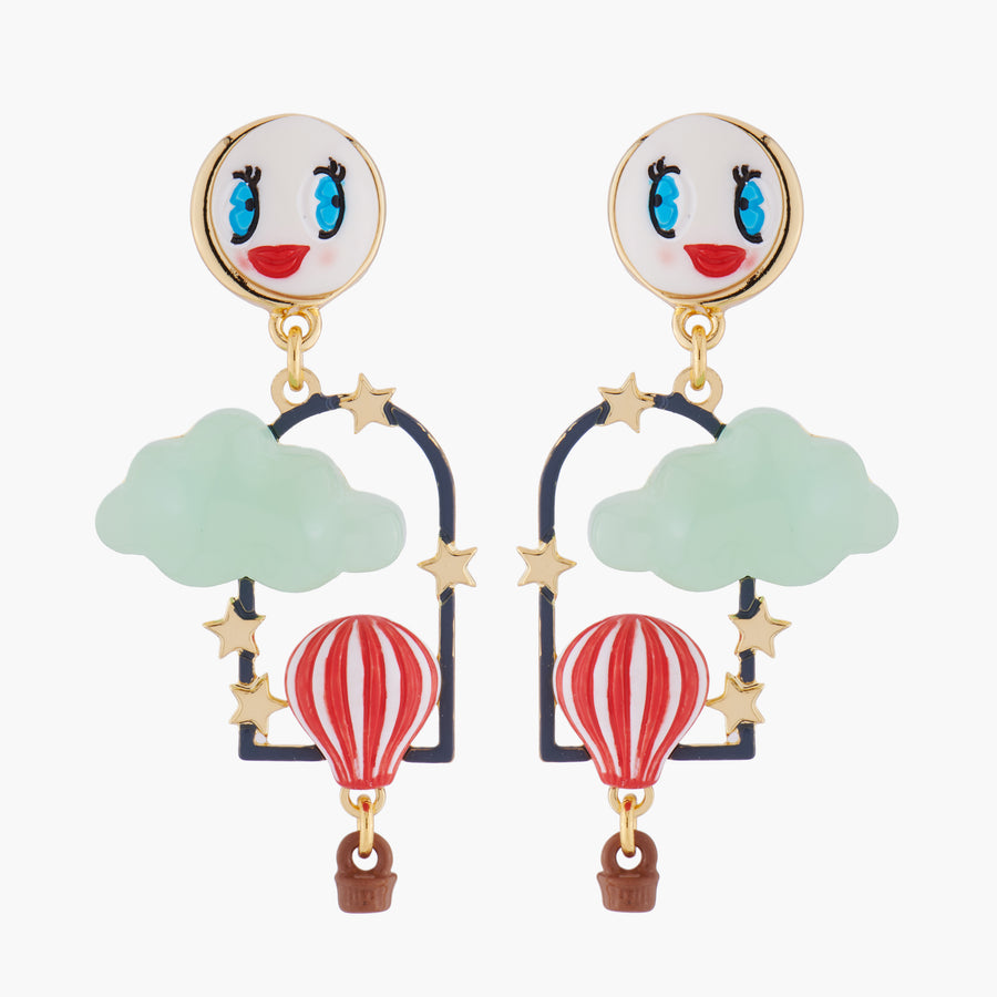 Hot Air Balloon and Moon Stud Earrings