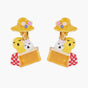 Two Baby Swans in Basket Clip On Earrings
