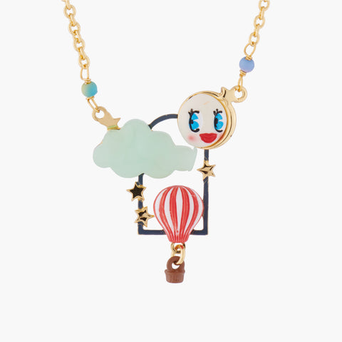 Hot Air Balloon, Moon and Cloud Pendant Collar