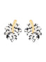 Splash Black and white tropical leaf stud earrings