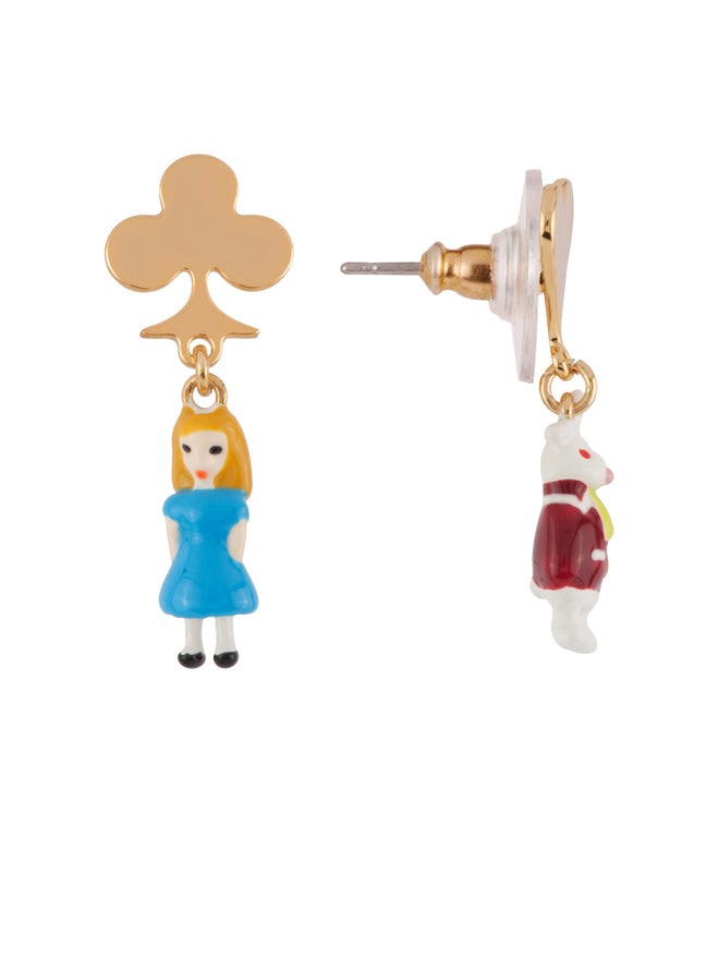 Once Upon A Time Miniatures of Alice and The White Rabbit Earrings Alternate View