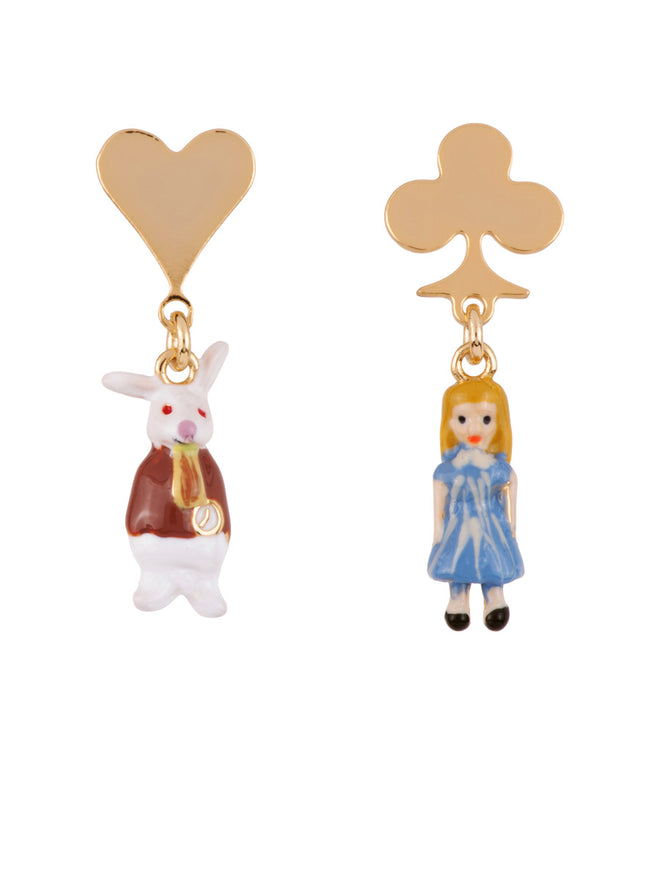 Once Upon A Time Miniatures of Alice and The White Rabbit Earrings