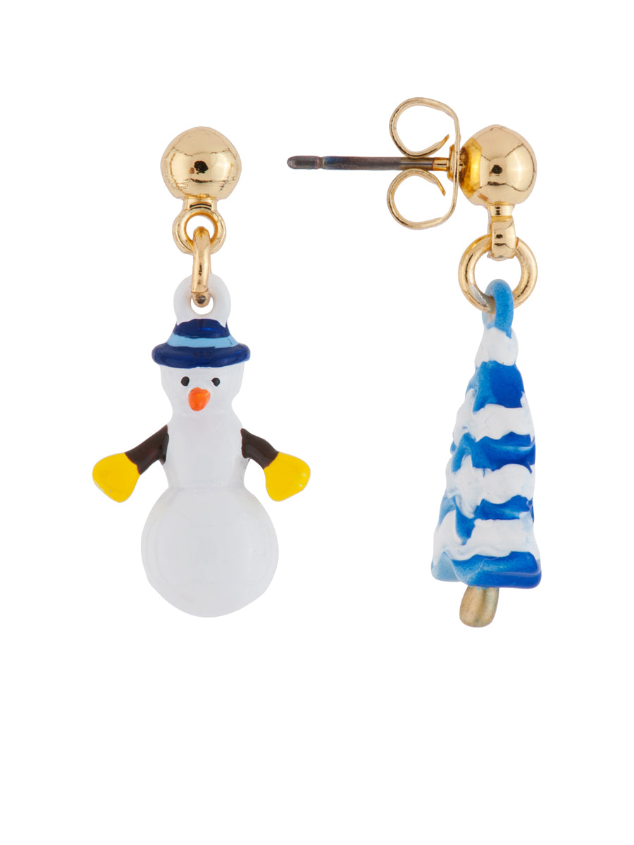 Snow Kingdom Olaf and Snow-Covered Pine Tree Asymmetrical Earrings