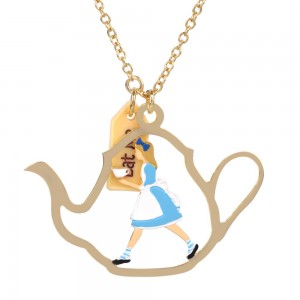 Alice's Team Time Golden Teapot Necklace
