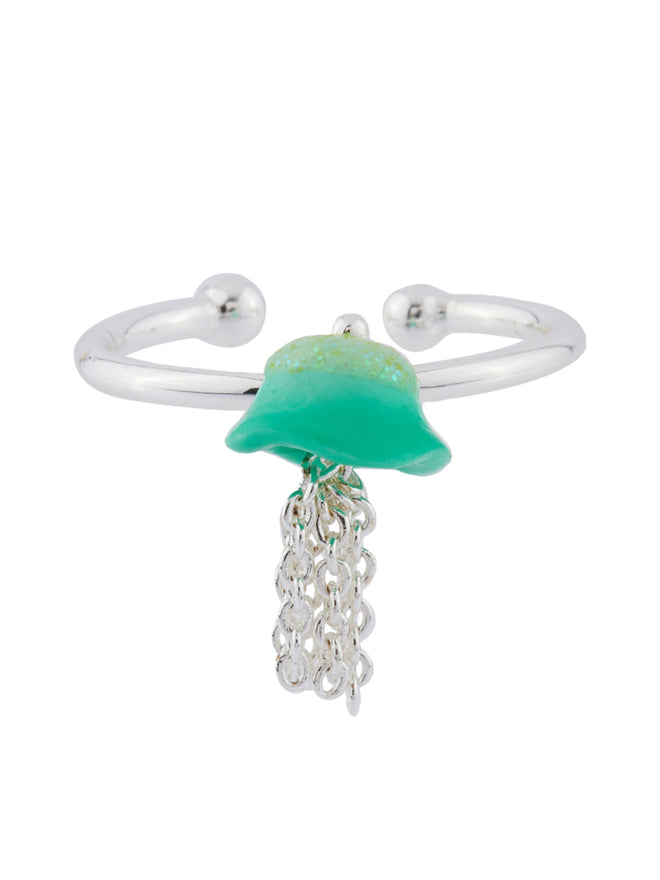 I Am A Mermaid Little Blue Jellyfish Adjustable Ring