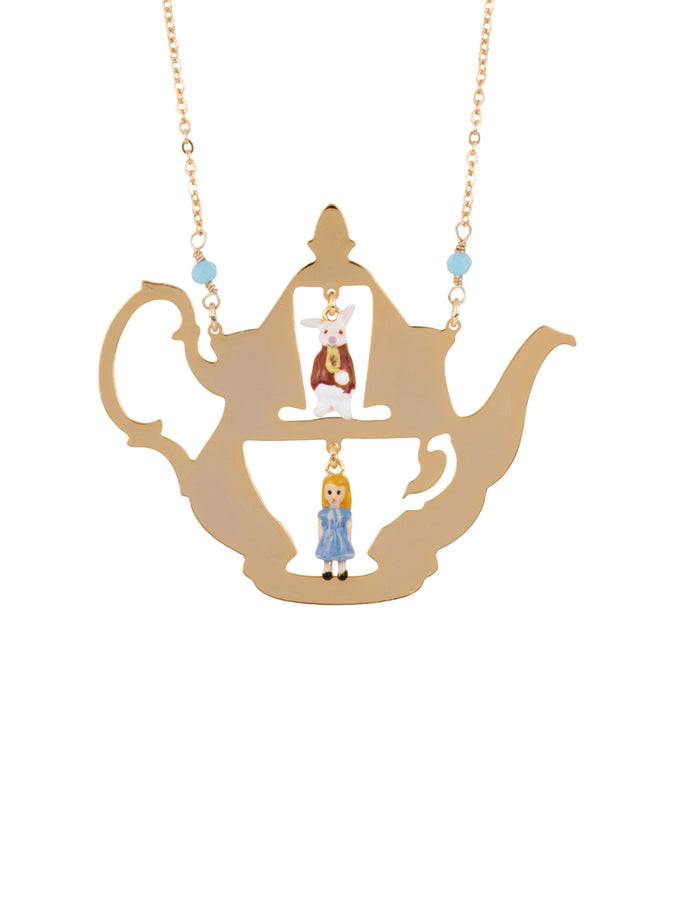 Once Upon A Time Alice and The White Rabbit In A Teapot Long Necklace