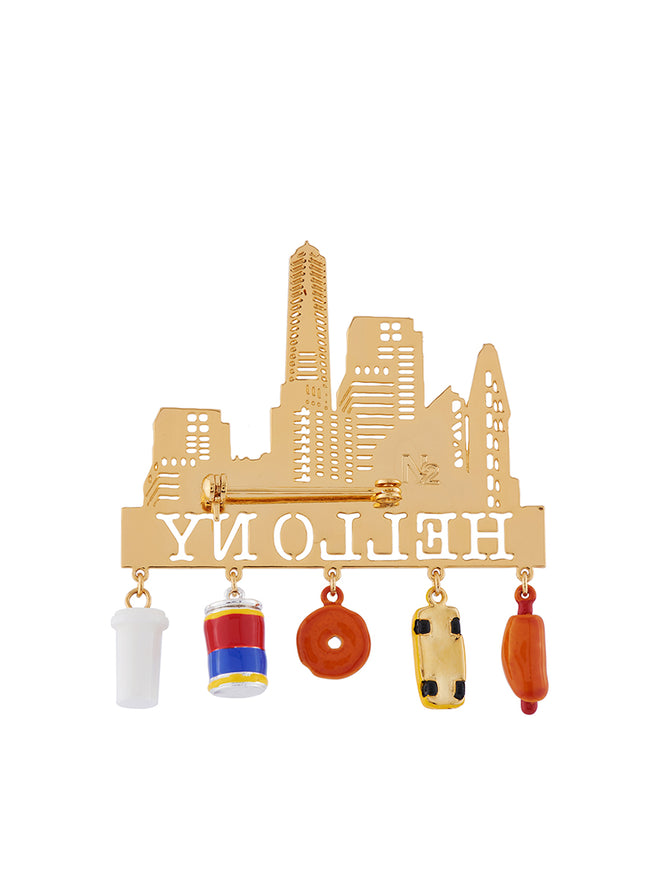 Hello New York and Emblematic Charms Brooch Alternate View