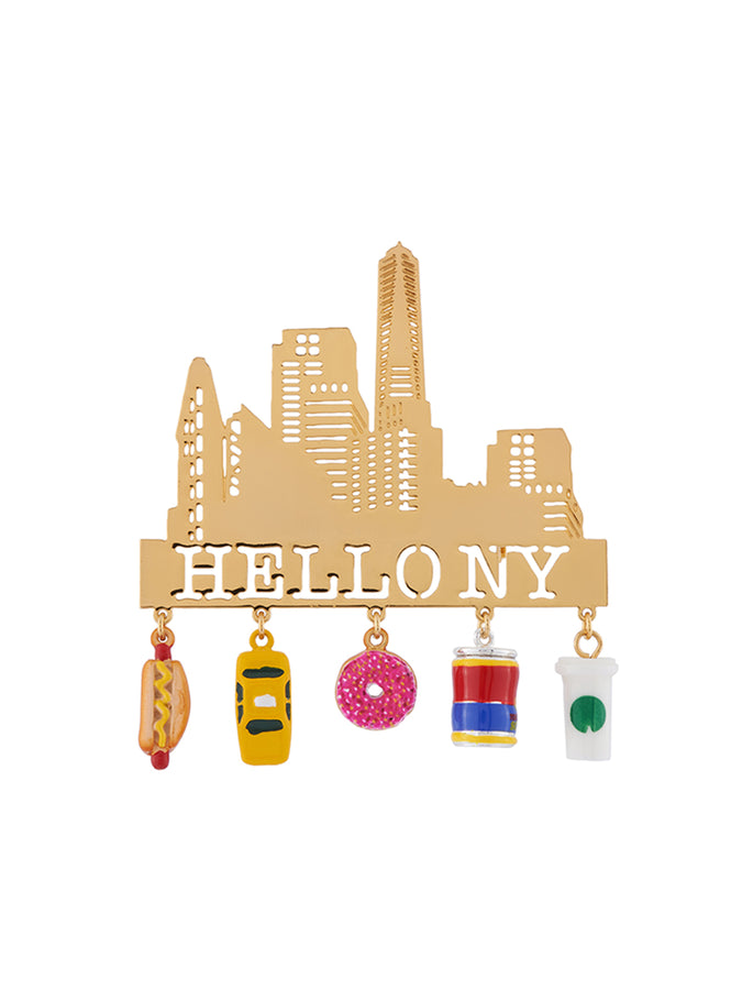 Hello New York and Emblematic Charms Brooch