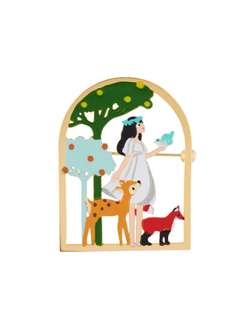 Snow White with Her Friends In The Woods Brooch