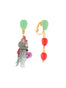 Animals Circus Cats and balloons asymmetrical dangling clip-on earrings Alternate View