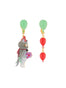 Animals Circus Cats and balloons asymmetrical dangling clip-on earrings