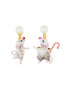 Animals Circus The dancer mouses asymmetrical dangling clip-on earrings