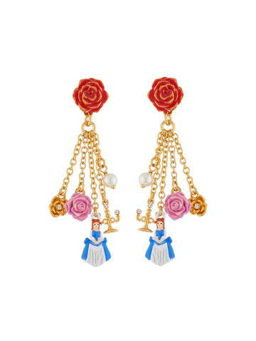 Beauty Like Beast Red Rose and The Beauty, Flowers, Pearl and Candelarbrum Charms Clip Earrings