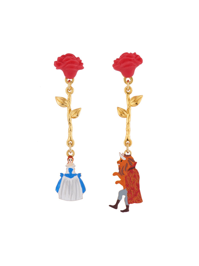 Beauty Like Beast Red Roses and The Beauty and The Beast Charms Asymmetrical Clip Earrings